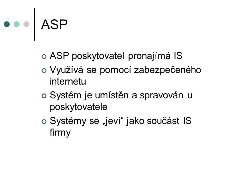 """ASP ASP poskytovatel pronajímá IS Využívá se pomocí zabezpečeného internetu Systém je umístěn a spravován u poskytovatele Systémy se """"jeví"""" jako součá"""