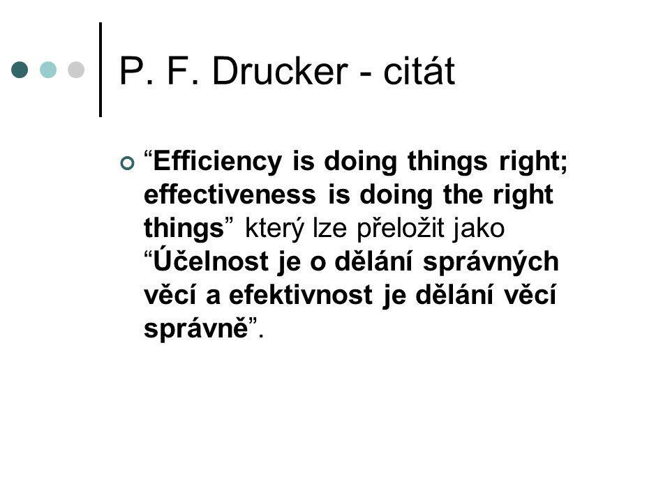 """P. F. Drucker - citát """"Efficiency is doing things right; effectiveness is doing the right things"""" který lze přeložit jako """"Účelnost je o dělání správn"""