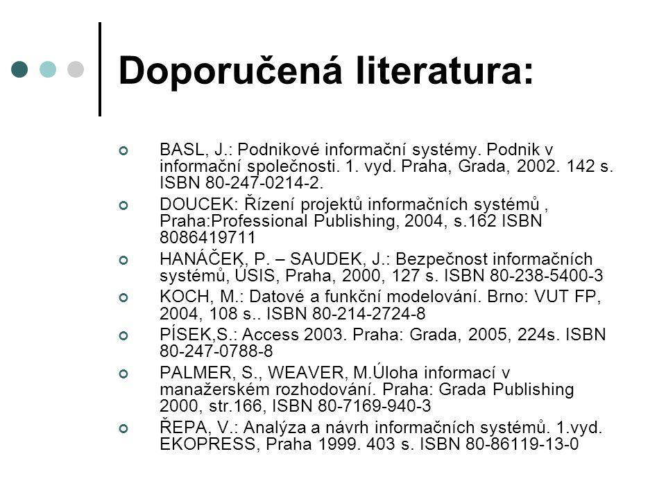 Doporučená literatura: BASL, J.: Podnikové informační systémy. Podnik v informační společnosti. 1. vyd. Praha, Grada, 2002. 142 s. ISBN 80-247-0214-2.
