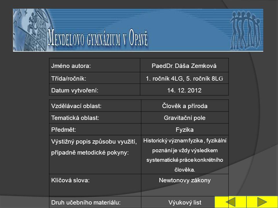 Jméno autora: PaedDr. Dáša Zemková Třída/ročník:1.