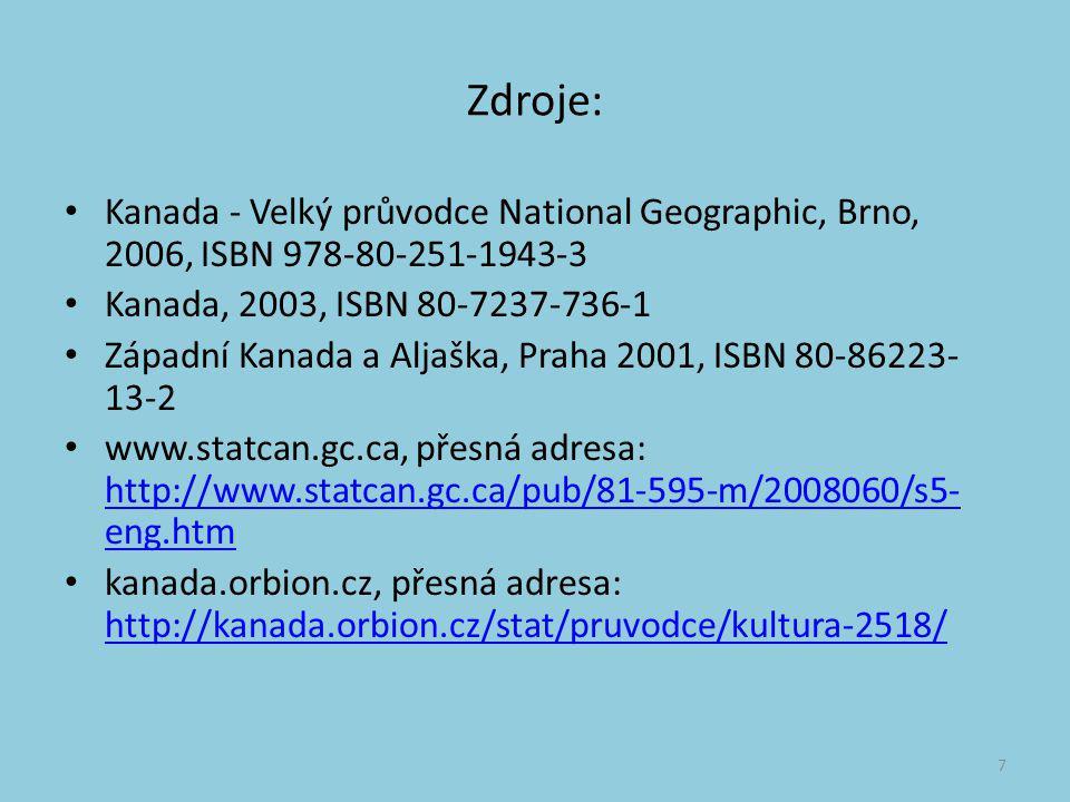 Zdroje: Kanada - Velký průvodce National Geographic, Brno, 2006, ISBN 978-80-251-1943-3 Kanada, 2003, ISBN 80-7237-736-1 Západní Kanada a Aljaška, Pra