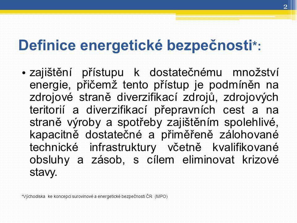 Definice energetické bezpečnosti *: zajištění přístupu k dostatečnému množství energie, přičemž tento přístup je podmíněn na zdrojové straně diverzifi
