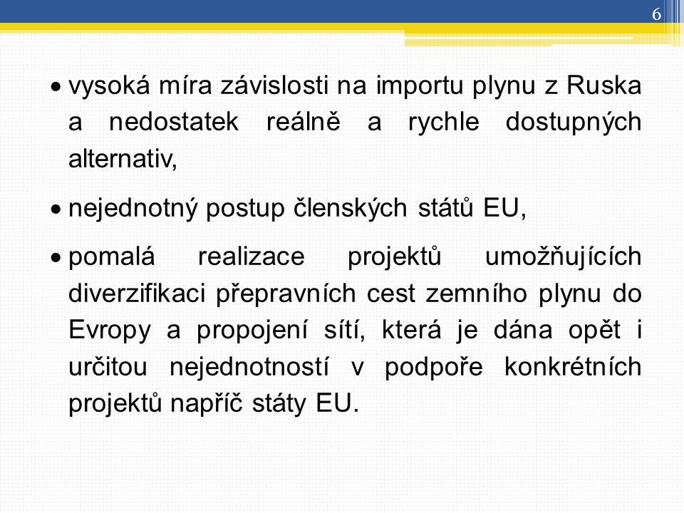  vysoká míra závislosti na importu plynu z Ruska a nedostatek reálně a rychle dostupných alternativ,  nejednotný postup členských států EU,  pomalá