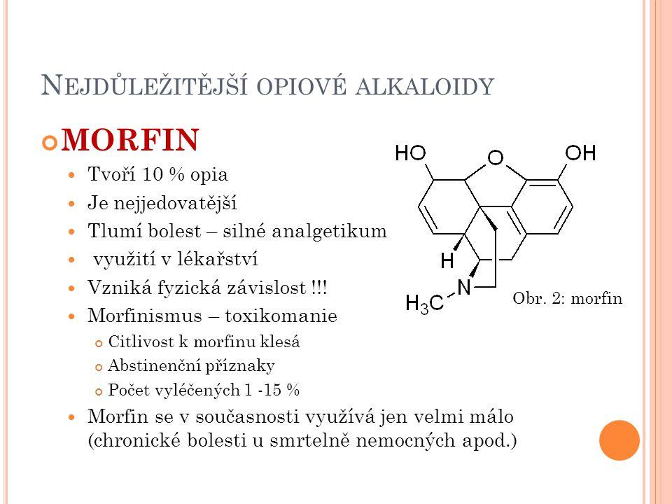 N EJDŮLEŽITĚJŠÍ OPIOVÉ ALKALOIDY KODEIN Má mírné sedativní účinky Užívá se k tišení kašle PAPAVERIN Spasmolytikum užívané v lékařství (uvolňuje napětí hladkého svalstva) Struktura odvozena od izocholinu Je spíše nenávykový, málo toxický Obr.