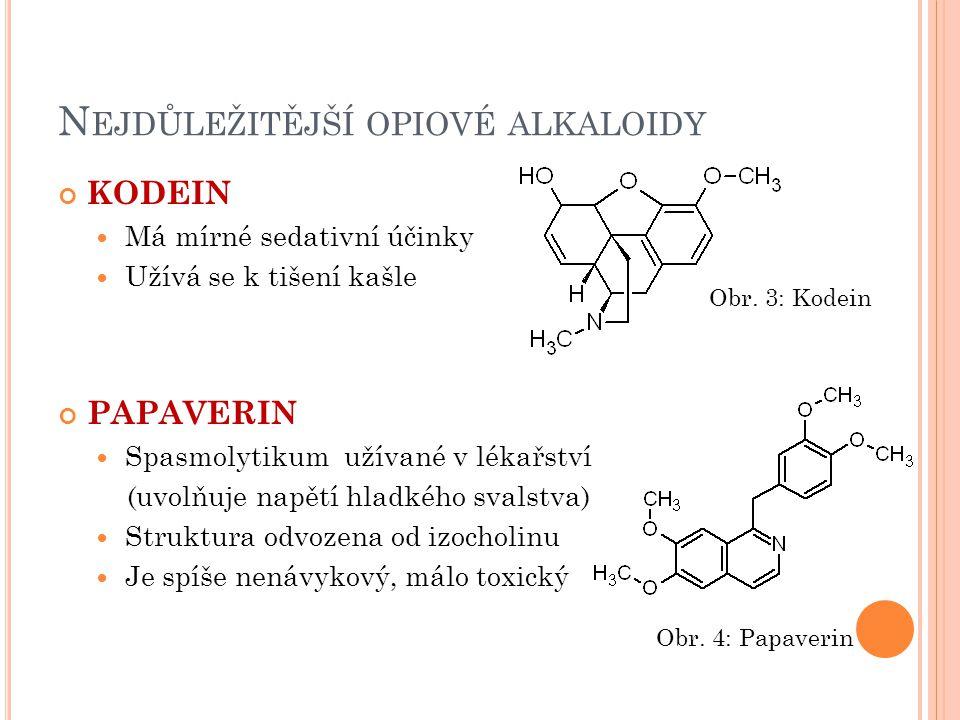 N EJDŮLEŽITĚJŠÍ OPIOVÉ ALKALOIDY KODEIN Má mírné sedativní účinky Užívá se k tišení kašle PAPAVERIN Spasmolytikum užívané v lékařství (uvolňuje napětí