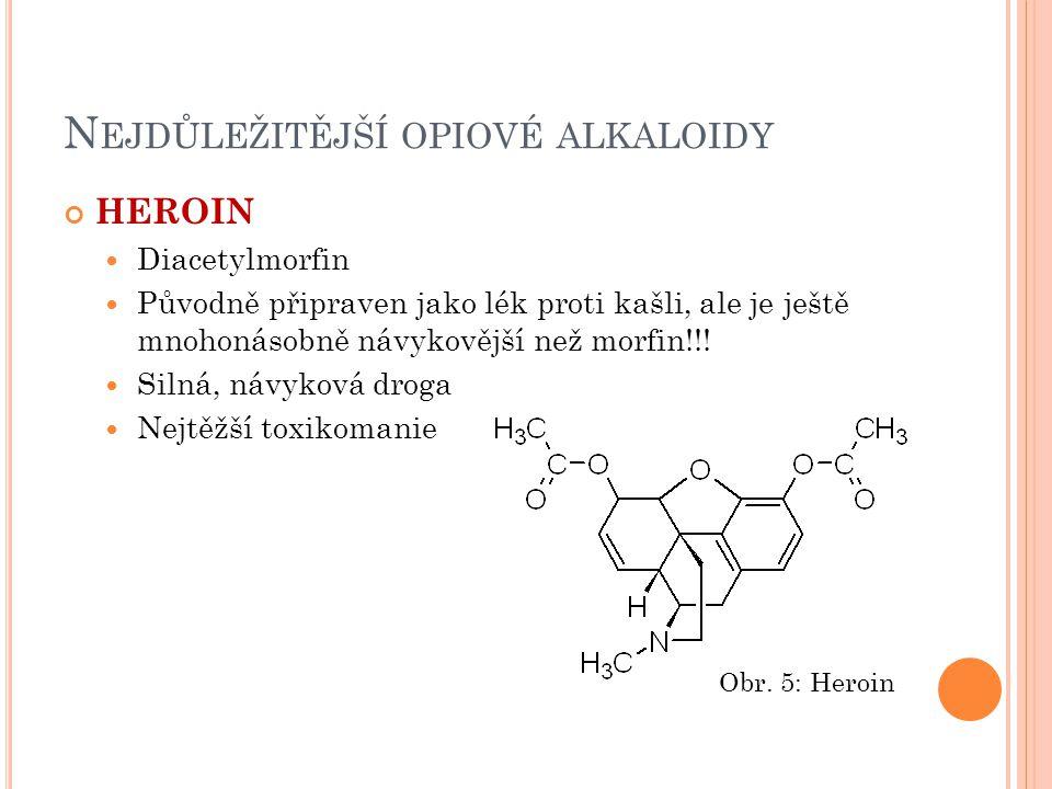 N EJDŮLEŽITĚJŠÍ OPIOVÉ ALKALOIDY HEROIN Diacetylmorfin Původně připraven jako lék proti kašli, ale je ještě mnohonásobně návykovější než morfin!!! Sil