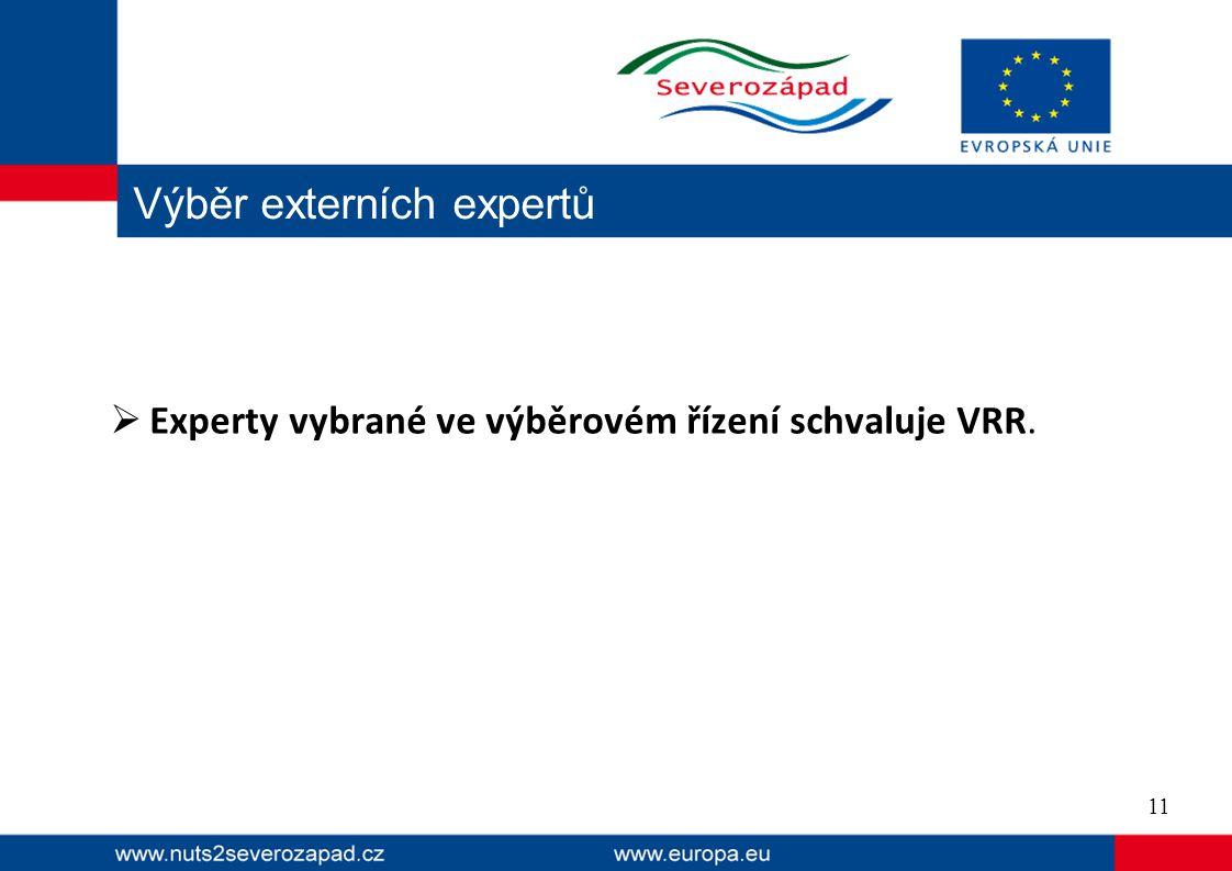  Experty vybrané ve výběrovém řízení schvaluje VRR. Výběr externích expertů 11