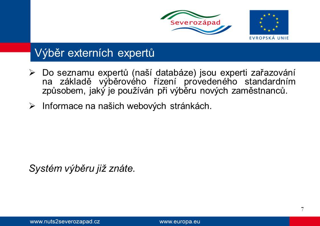  Výběr expertů probíhá na základě hodnocení následujících kritérií:  Odborná způsobilost a profesní zkušenosti v dané profesní oblasti,  Znalosti a zkušenosti v oblasti ekonomiky,  Zkušenosti s přípravou nebo hodnocením projektů,  Nezávislost a nepodjatost.