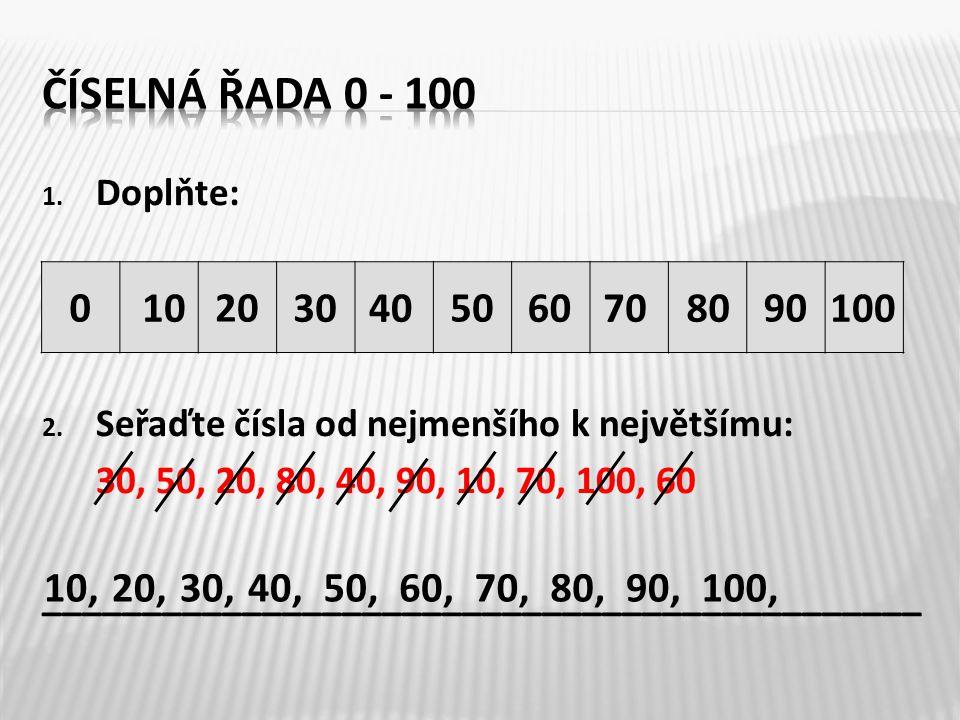 1. Doplňte: 2. Seřaďte čísla od nejmenšího k největšímu: 30, 50, 20, 80, 40, 90, 10, 70, 100, 60 ____________________________________________ 0205090