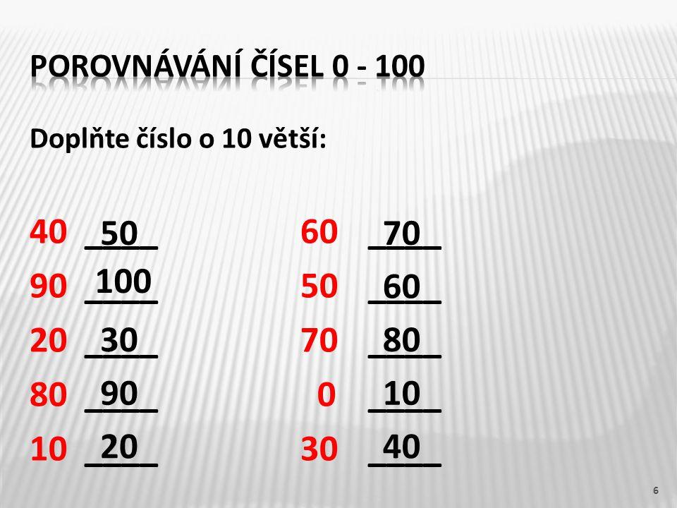 Doplňte číslo o 10 větší: 40____60____ 90____50____ 20 ____70____ 80____ 0____ 10____30____ 6 50 100 30 90 20 70 60 80 10 40