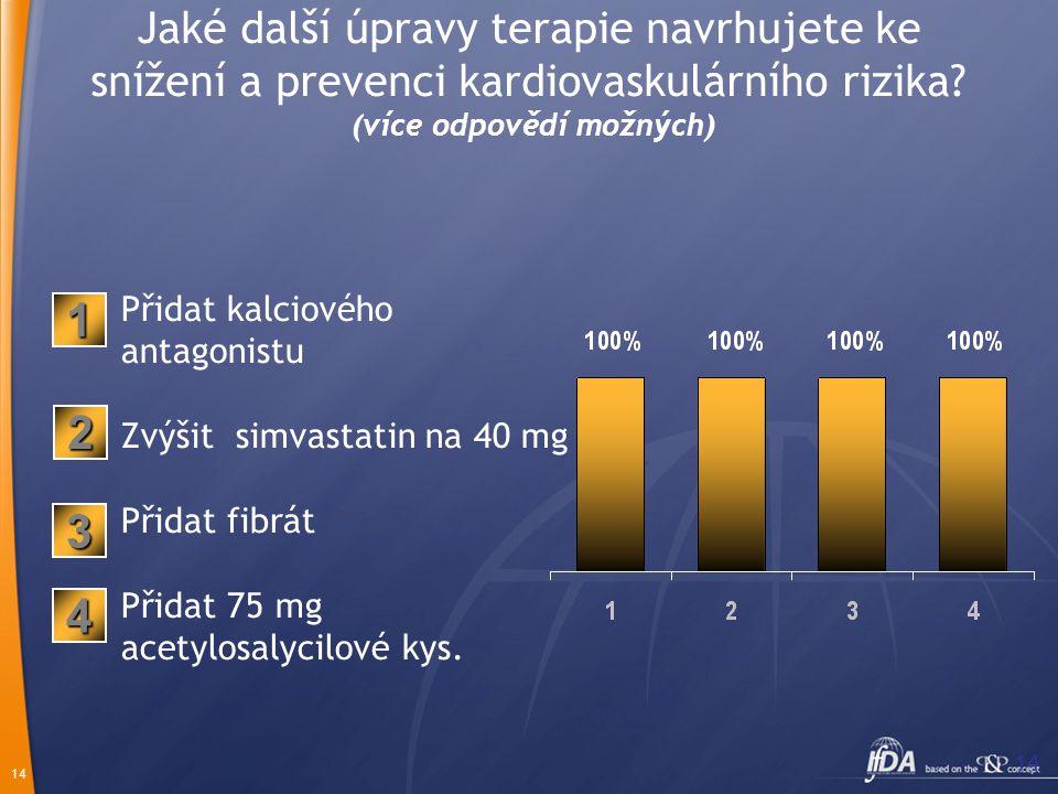 14 Jaké další úpravy terapie navrhujete ke snížení a prevenci kardiovaskulárního rizika? (více odpovědí možných) Přidat kalciového antagonistu Zvýšit