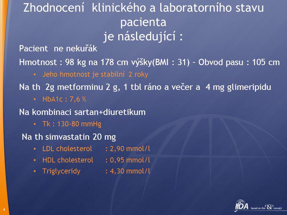 4 4 Zhodnocení klinického a laboratorního stavu pacienta je následující : Pacient ne nekuřák Hmotnost : 98 kg na 178 cm výšky(BMI : 31) – Obvod pasu :