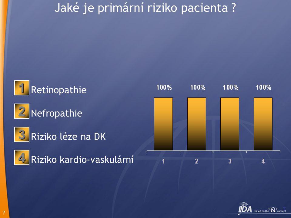 7 7 Jaké je primární riziko pacienta ? Retinopathie Nefropathie Riziko léze na DK Riziko kardio-vaskulární 2 1 3 4