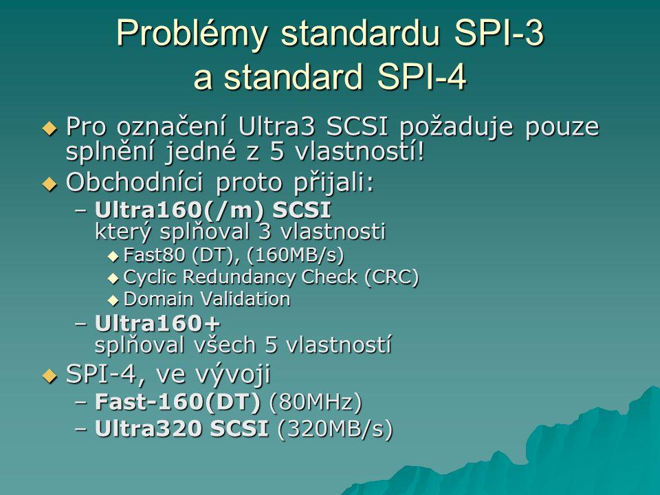 Problémy standardu SPI-3 a standard SPI-4  Pro označení Ultra3 SCSI požaduje pouze splnění jedné z 5 vlastností!  Obchodníci proto přijali: –Ultra16