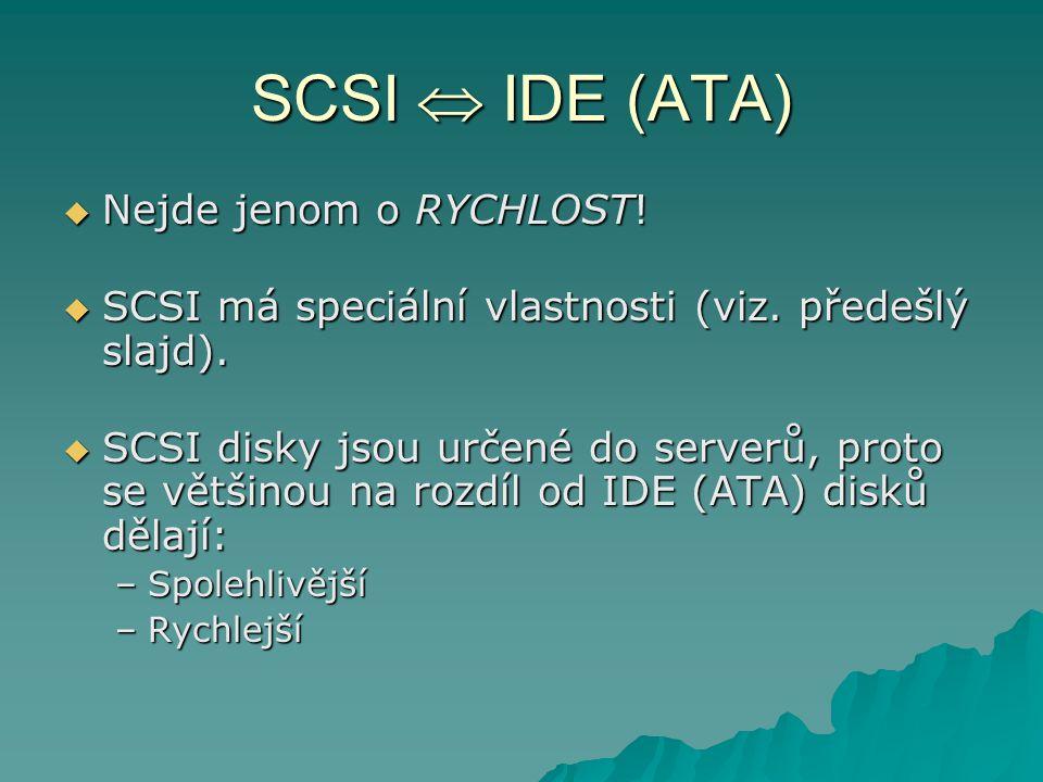 SCSI  IDE (ATA)  Nejde jenom o RYCHLOST.  SCSI má speciální vlastnosti (viz.