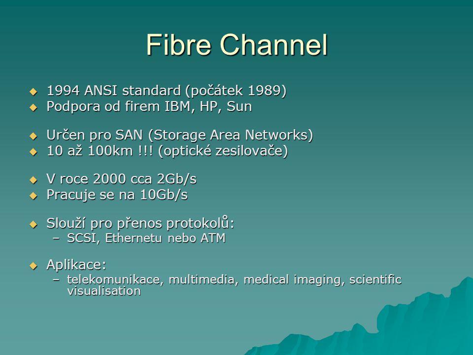 Fibre Channel  1994 ANSI standard (počátek 1989)  Podpora od firem IBM, HP, Sun  Určen pro SAN (Storage Area Networks)  10 až 100km !!! (optické z