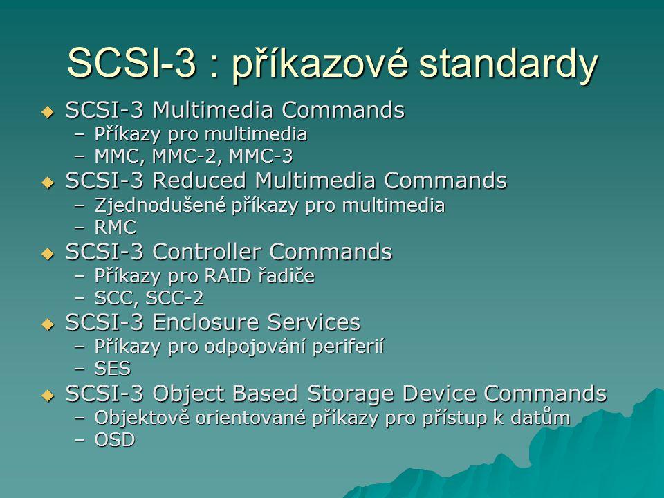 SCSI-3 : příkazové standardy  SCSI-3 Multimedia Commands –Příkazy pro multimedia –MMC, MMC-2, MMC-3  SCSI-3 Reduced Multimedia Commands –Zjednodušen