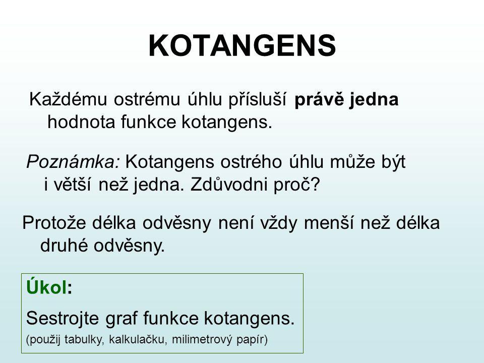 KOTANGENS Každému ostrému úhlu přísluší právě jedna hodnota funkce kotangens. Úkol: Sestrojte graf funkce kotangens. (použij tabulky, kalkulačku, mili