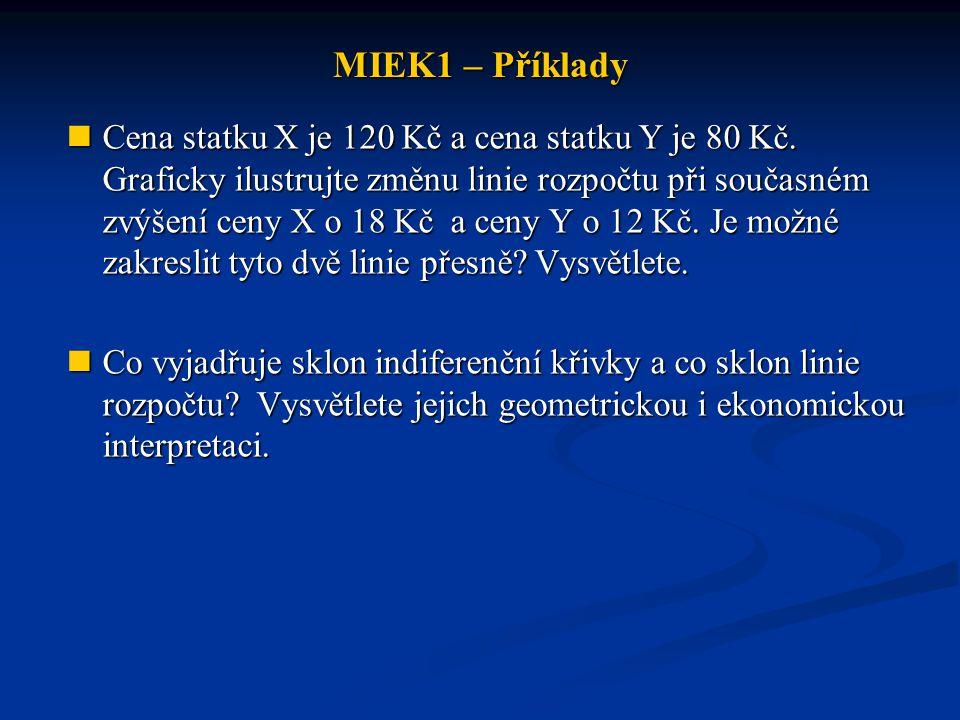 MIEK1 – Příklady Cena statku X je 120 Kč a cena statku Y je 80 Kč. Graficky ilustrujte změnu linie rozpočtu při současném zvýšení ceny X o 18 Kča ceny