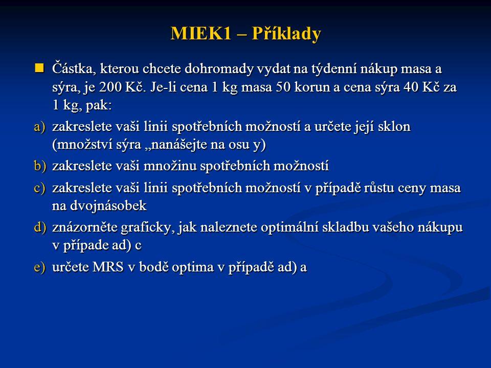 MIEK1 – Příklady Částka, kterou chcete dohromady vydat na týdenní nákup masa a sýra, je 200 Kč. Je-li cena 1 kg masa 50 korun a cena sýra 40 Kč za 1 k