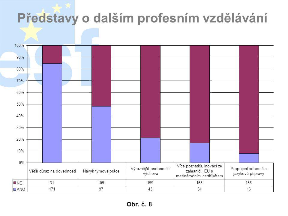 Představy o dalším profesním vzdělávání 0% 10% 20% 30% 40% 50% 60% 70% 80% 90% 100% NE 31105159168186 ANO 17197433416 Větší důraz na dovednostiNávyk týmové práce Výraznější osobnostní výchova Více poznatků, inovací ze zahraničí, EU s mezinárodním certifikátem Propojení odborné a jazykové přípravy Obr.