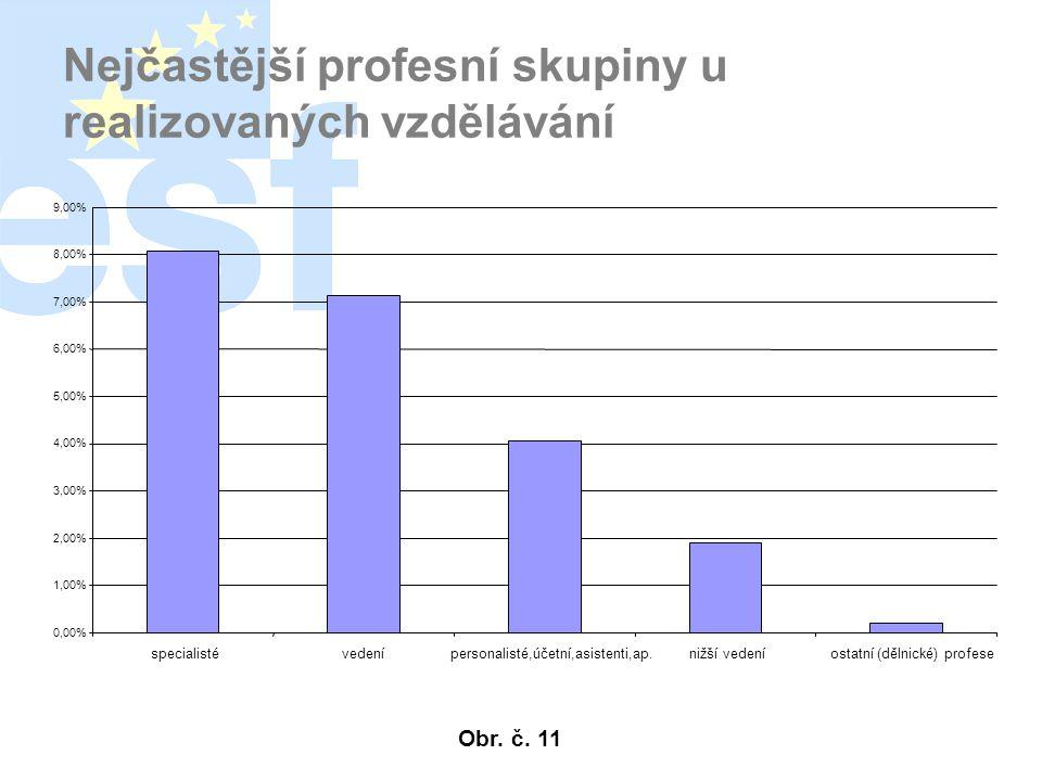 Nejčastější profesní skupiny u realizovaných vzdělávání 0,00% 1,00% 2,00% 3,00% 4,00% 5,00% 6,00% 7,00% 8,00% 9,00% specialistévedenípersonalisté,účetní,asistenti,ap.nižší vedeníostatní (dělnické) profese Obr.