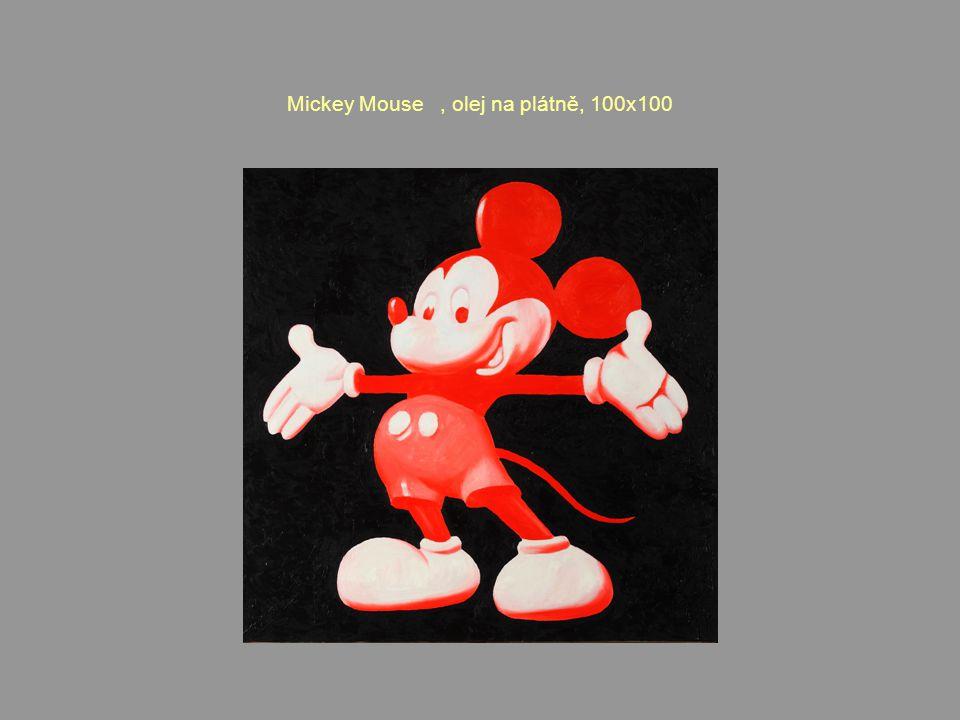 Mickey Mouse, olej na plátně, 100x100