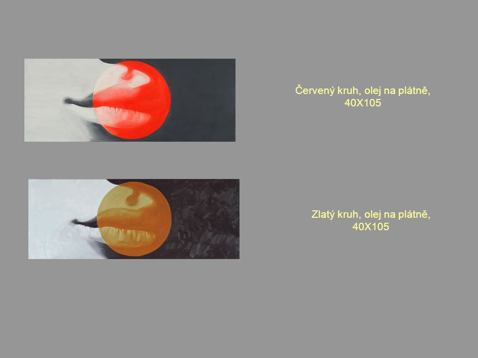 Červený kruh, olej na plátně, 40X105 Zlatý kruh, olej na plátně, 40X105