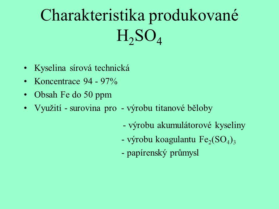 Charakteristika produkované H 2 SO 4 Kyselina sírová technická Koncentrace 94 - 97% Obsah Fe do 50 ppm Využití - surovina pro - výrobu titanové běloby