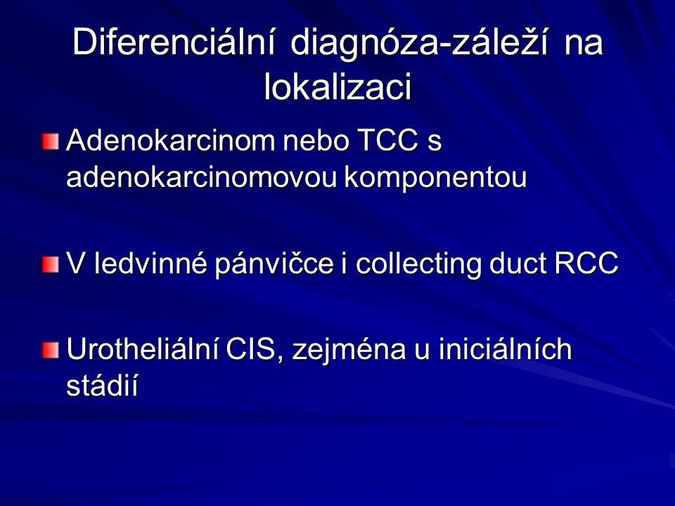 Diferenciální diagnóza-záleží na lokalizaci Adenokarcinom nebo TCC s adenokarcinomovou komponentou V ledvinné pánvičce i collecting duct RCC Urotheliální CIS, zejména u iniciálních stádií