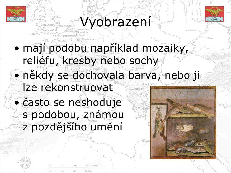 Vyobrazení mají podobu například mozaiky, reliéfu, kresby nebo sochy někdy se dochovala barva, nebo ji lze rekonstruovat často se neshoduje s podobou, známou z pozdějšího umění
