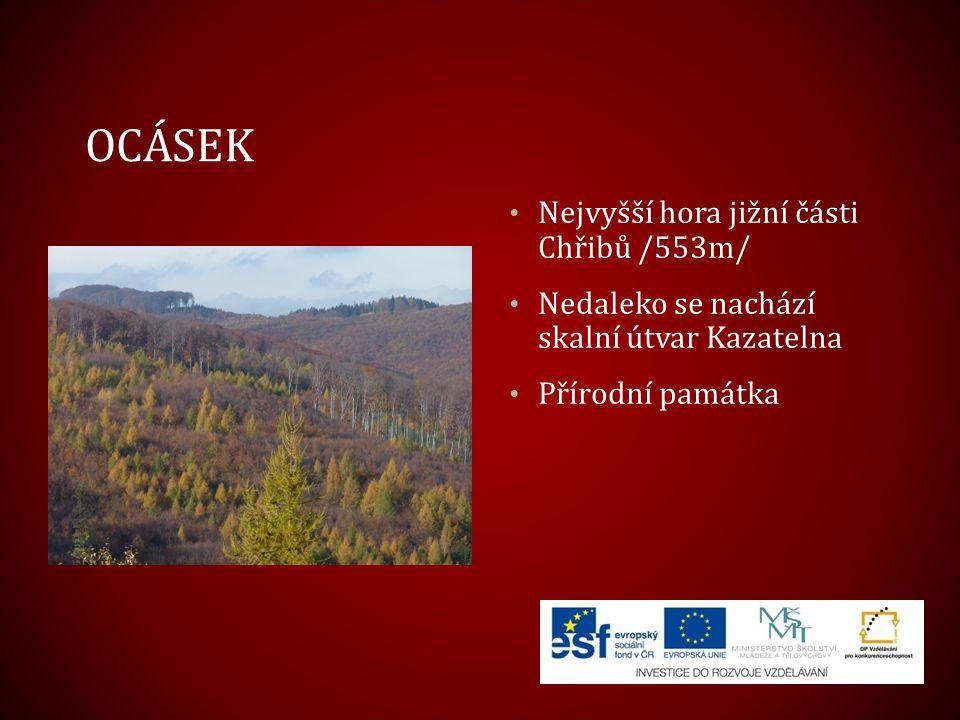 OCÁSEK Nejvyšší hora jižní části Chřibů /553m/ Nedaleko se nachází skalní útvar Kazatelna Přírodní památka