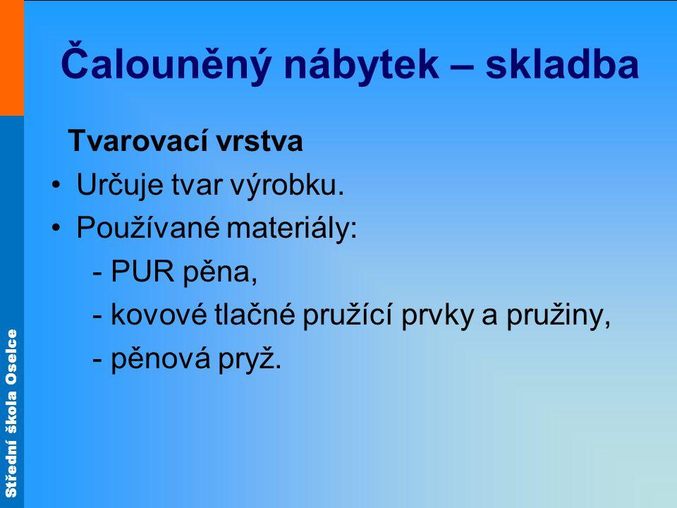 Střední škola Oselce Čalouněný nábytek – skladba Kypřicí vrstva Změkčuje výrobky.