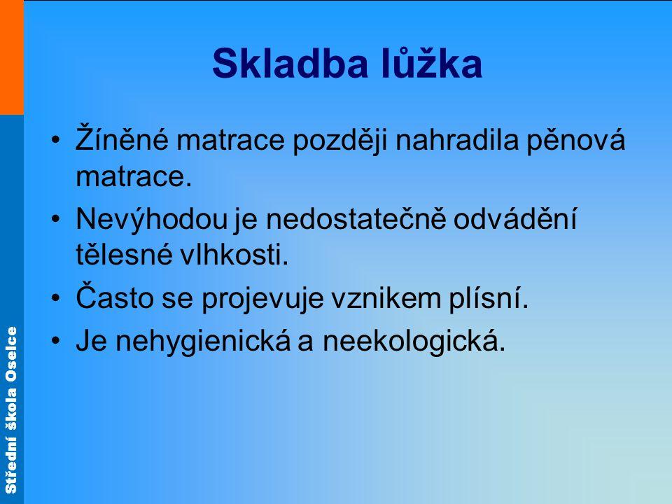 Střední škola Oselce Skladba lůžka Požadavky na lůžko: Zdravotní nezávadnost.