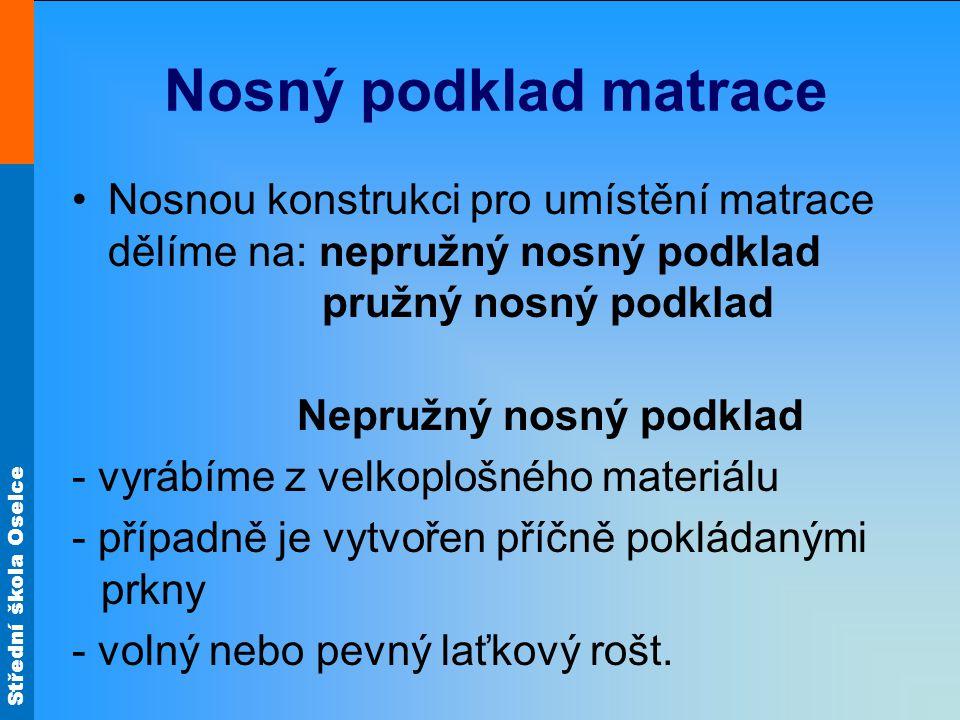 Střední škola Oselce Nosný podklad matrace Pružný nosný podklad -Dříve používaným typem byl drátěný rošt.