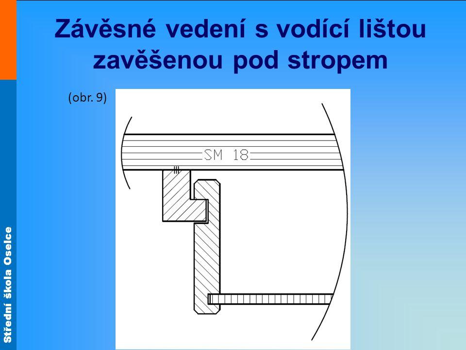 Střední škola Oselce Závěsné vedení s vodící lištou zavěšenou pod stropem (obr. 9)