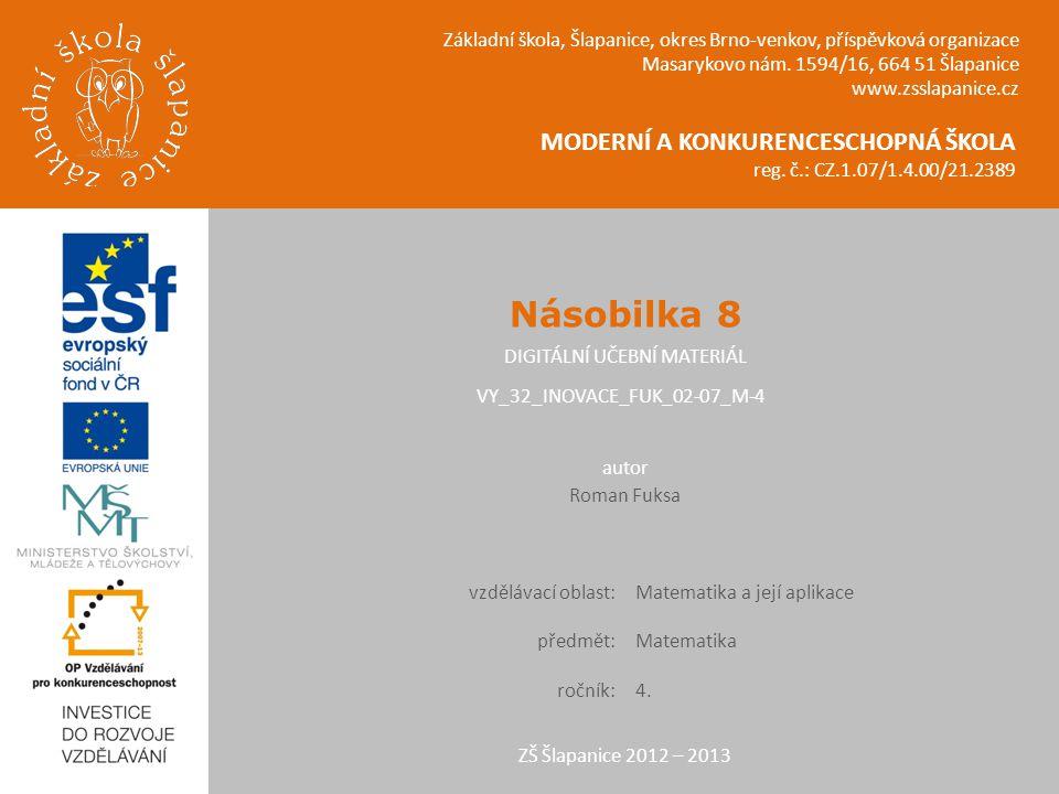MODERNÍ A KONKURENCESCHOPNÁ ŠKOLA reg. č.: CZ.1.07/1.4.00/21.2389 Základní škola, Šlapanice, okres Brno-venkov, příspěvková organizace Masarykovo nám.