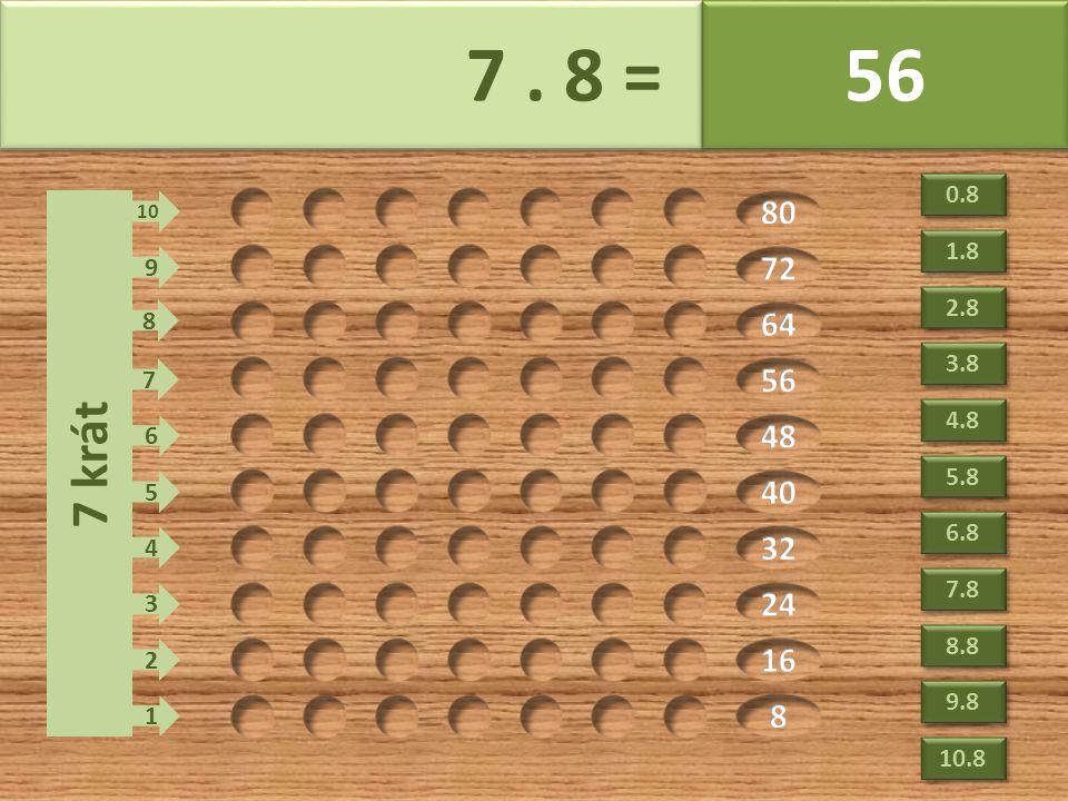 7. 8 = 56 7 krát 1 2 3 4 5 6 7 8 9 10 0.8 2.8 3.8 4.8 5.8 6.8 7.8 8.8 9.8 10.8 1.8