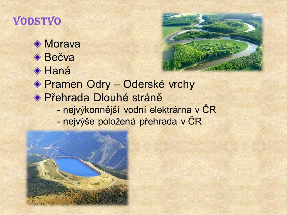 VODSTVO Morava Bečva Haná Pramen Odry – Oderské vrchy Přehrada Dlouhé stráně - nejvýkonnější vodní elektrárna v ČR - nejvýše položená přehrada v ČR