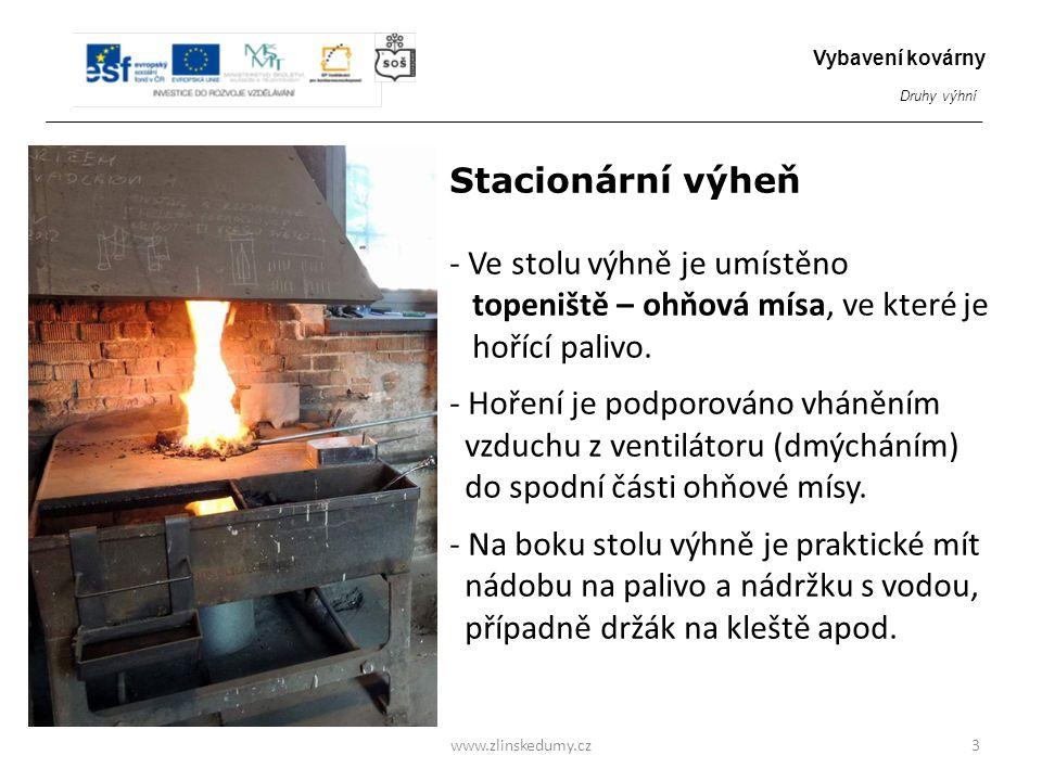 Stacionární výheň - Ve stolu výhně je umístěno topeniště – ohňová mísa, ve které je hořící palivo. - Hoření je podporováno vháněním vzduchu z ventilát
