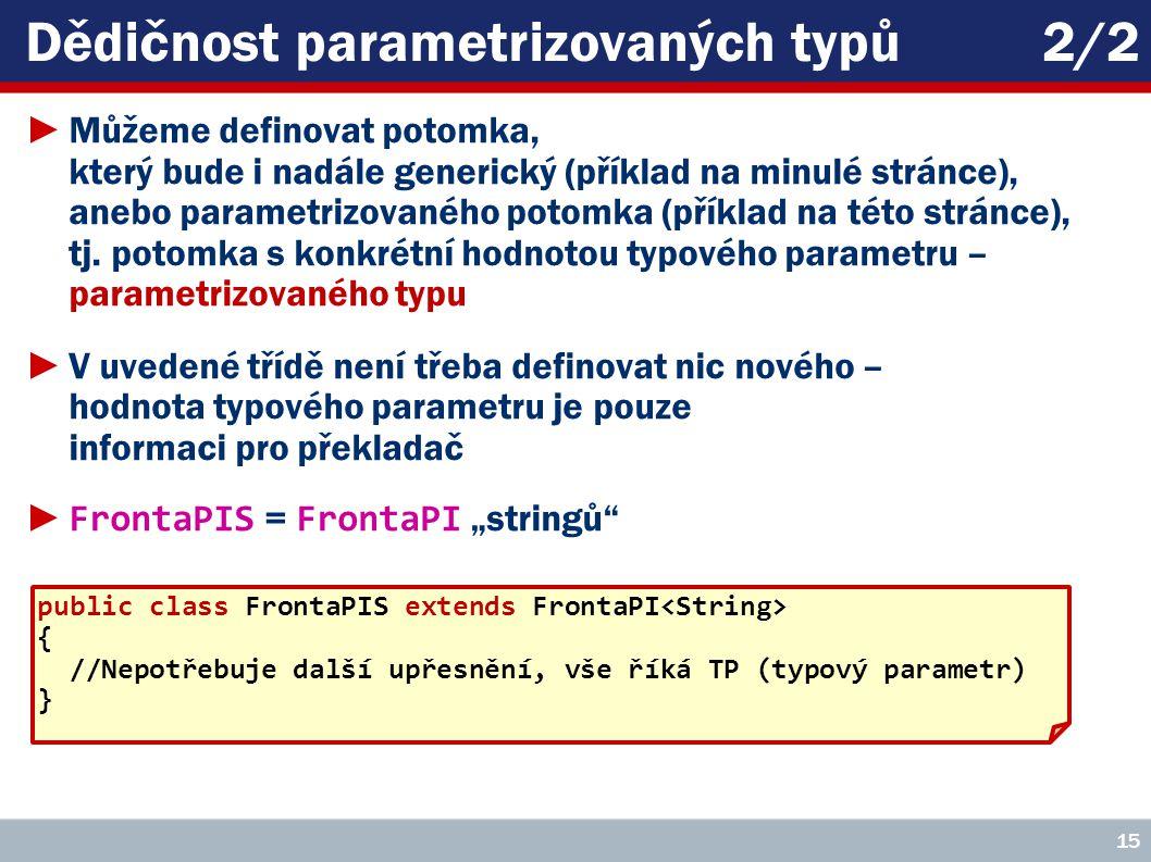 Dědičnost parametrizovaných typů2/2 ►Můžeme definovat potomka, který bude i nadále generický (příklad na minulé stránce), anebo parametrizovaného potomka (příklad na této stránce), tj.