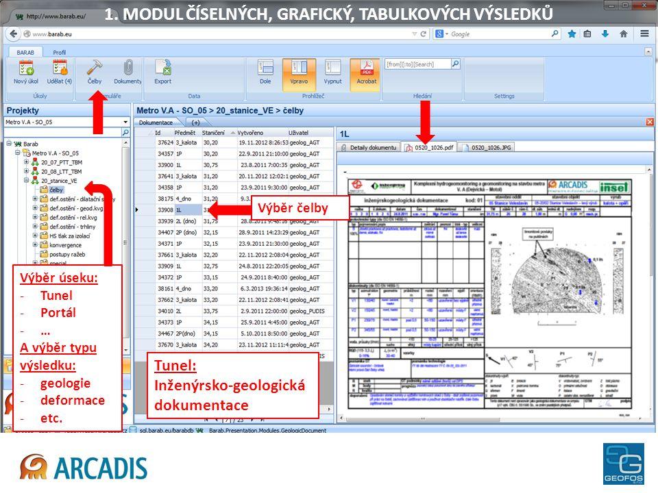 Tunel: Inženýrsko-geologická dokumentace Výběr úseku: -Tunel -Portál -… A výběr typu výsledku: -geologie -deformace -etc. 1. MODUL ČÍSELNÝCH, GRAFICKÝ