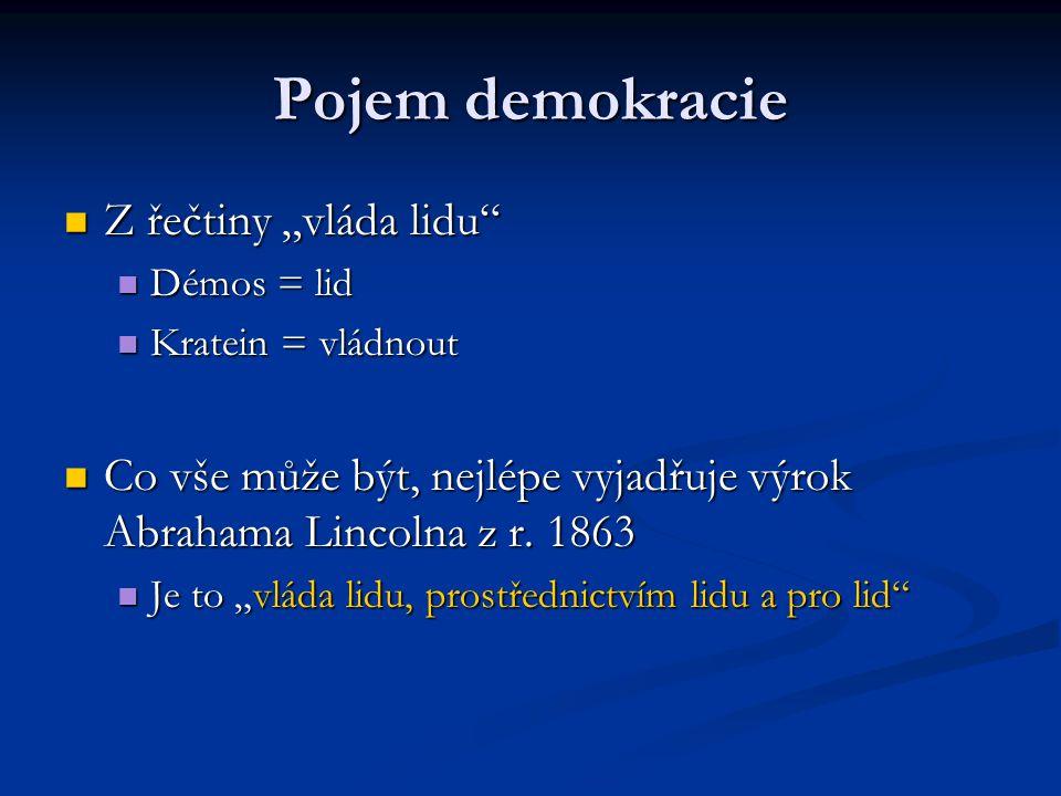 "Pojem demokracie Z řečtiny ""vláda lidu Z řečtiny ""vláda lidu Démos = lid Démos = lid Kratein = vládnout Kratein = vládnout Co vše může být, nejlépe vyjadřuje výrok Abrahama Lincolna z r."
