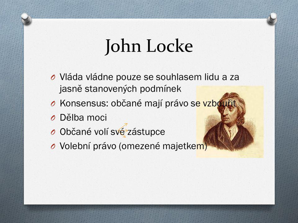 John Locke O Vláda vládne pouze se souhlasem lidu a za jasně stanovených podmínek O Konsensus: občané mají právo se vzbouřit O Dělba moci O Občané vol