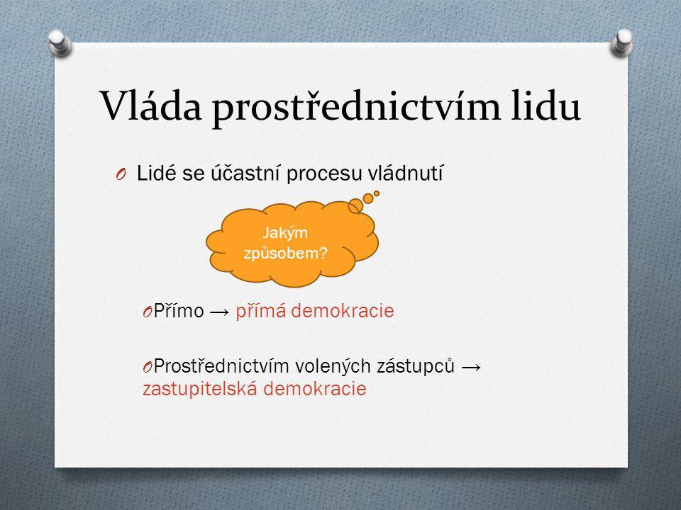 Vláda prostřednictvím lidu O Lidé se účastní procesu vládnutí O Přímo → přímá demokracie O Prostřednictvím volených zástupců → zastupitelská demokraci