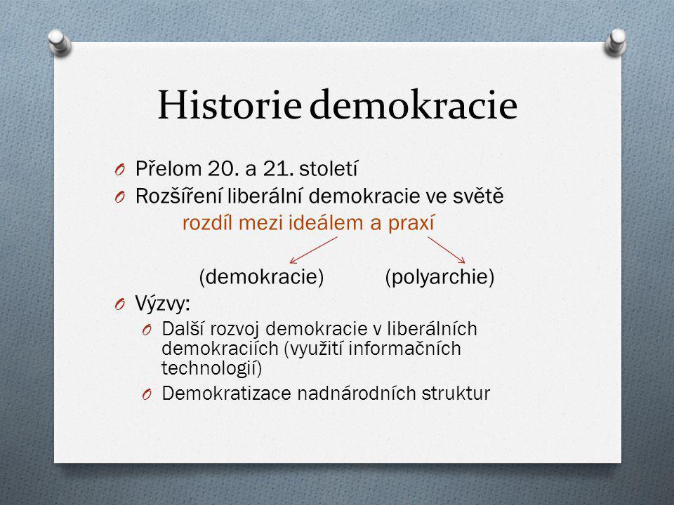 Historie demokracie O Přelom 20. a 21. století O Rozšíření liberální demokracie ve světě rozdíl mezi ideálem a praxí (demokracie) (polyarchie) O Výzvy