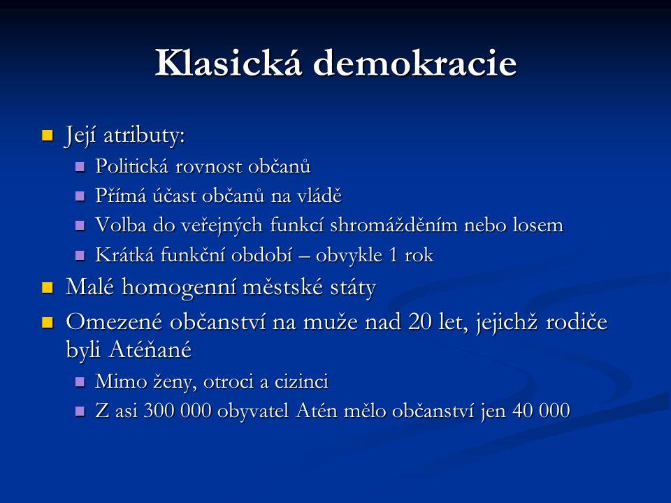 Klasická demokracie Její atributy: Její atributy: Politická rovnost občanů Politická rovnost občanů Přímá účast občanů na vládě Přímá účast občanů na