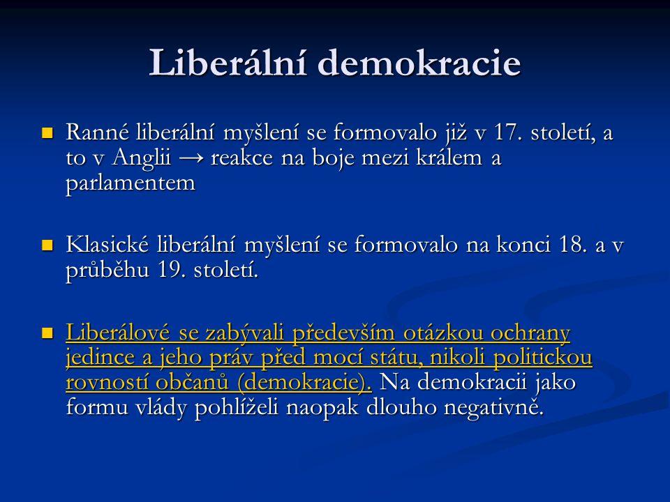 Liberální demokracie Ranné liberální myšlení se formovalo již v 17. století, a to v Anglii → reakce na boje mezi králem a parlamentem Ranné liberální