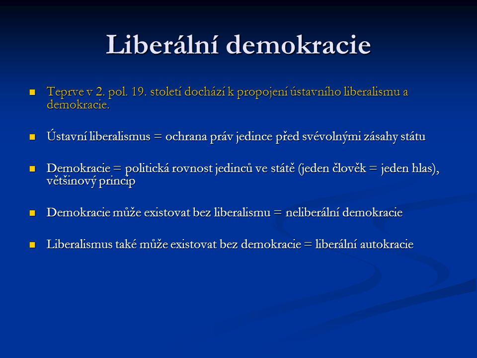 Liberální demokracie Teprve v 2. pol. 19. století dochází k propojení ústavního liberalismu a demokracie. Teprve v 2. pol. 19. století dochází k propo