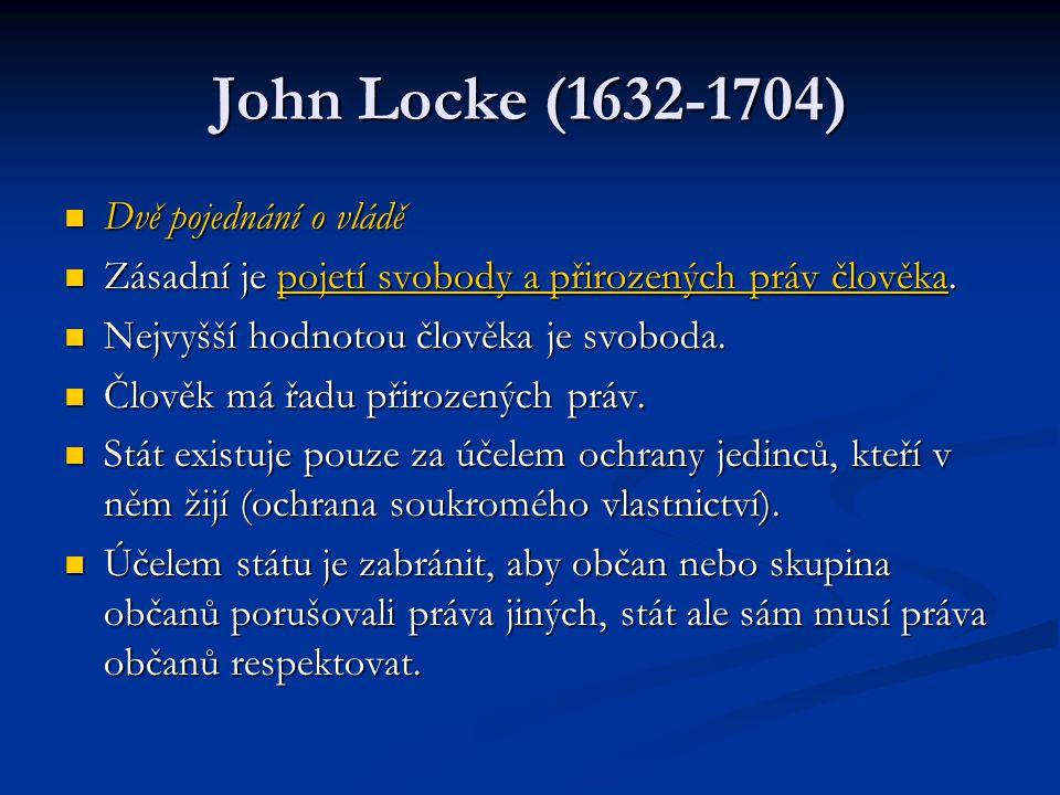 John Locke (1632-1704) Dvě pojednání o vládě Dvě pojednání o vládě Zásadní je pojetí svobody a přirozených práv člověka. Zásadní je pojetí svobody a p